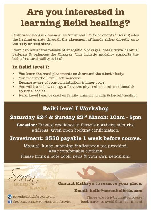 Seren Reiki training A5 flyer WP